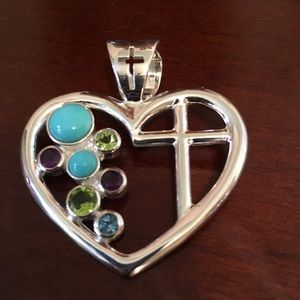 SS HEART AND CROSS PENDANT WITH GEMSTONES